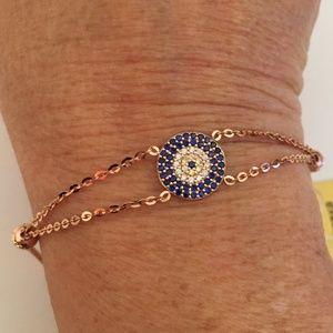 Jewelry - Solid 14K Rose Gold Blue Petite Medallion Bracelet